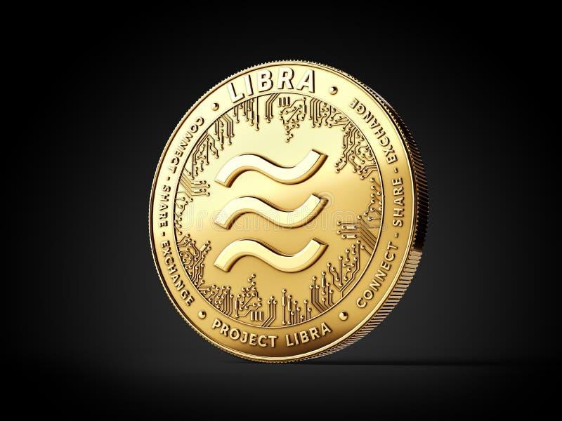 Χρυσό νόμισμα έννοιας cryptocurrency Libra που απομονώνεται στο μαύρο υπόβαθρο Εννοιολογικό σχέδιο Libra προγράμματος r ελεύθερη απεικόνιση δικαιώματος
