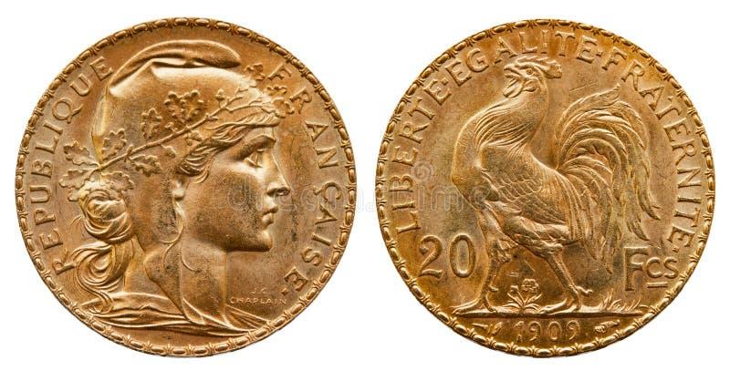 Χρυσό νόμισμα Γαλλία 20 φράγκα του 1909 στοκ φωτογραφίες