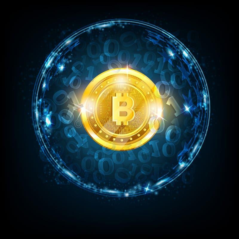 Χρυσό νόμισμα κομματιών στο κέντρο της στρογγυλής σφαίρας με το δυαδικό κώδικα στο σκούρο μπλε υπόβαθρο διανυσματική απεικόνιση