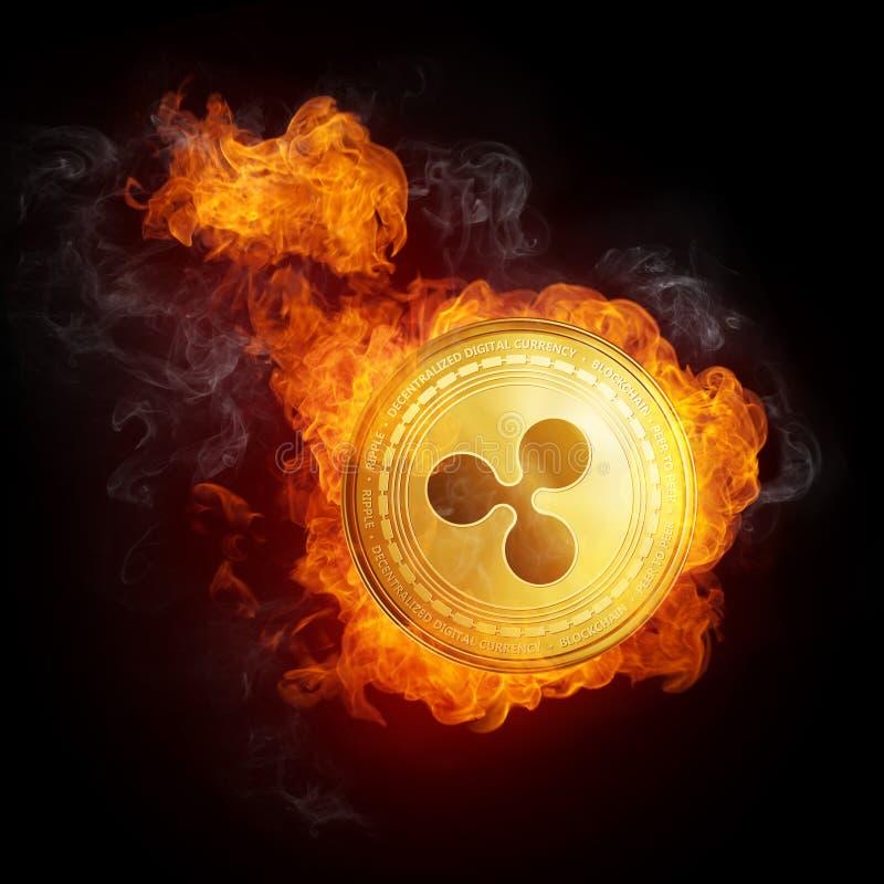 Χρυσό νόμισμα κυματισμών που εμπίπτει στη φλόγα πυρκαγιάς διανυσματική απεικόνιση