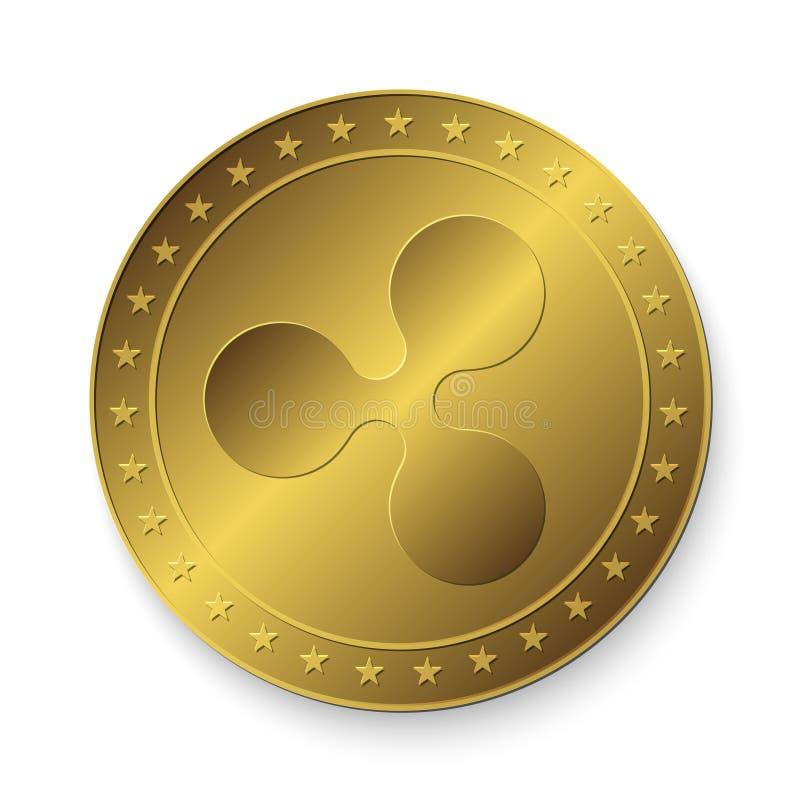Χρυσό νόμισμα κυματισμών ελεύθερη απεικόνιση δικαιώματος