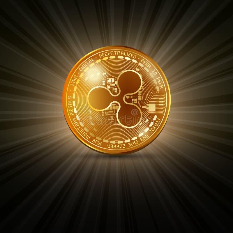 Χρυσό νόμισμα κυματισμών απεικόνιση αποθεμάτων