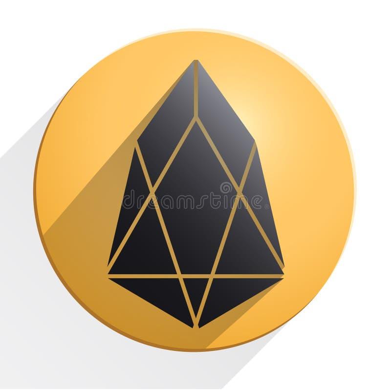 Χρυσό νόμισμα με το σημάδι cryptocurrency EOS διανυσματική απεικόνιση