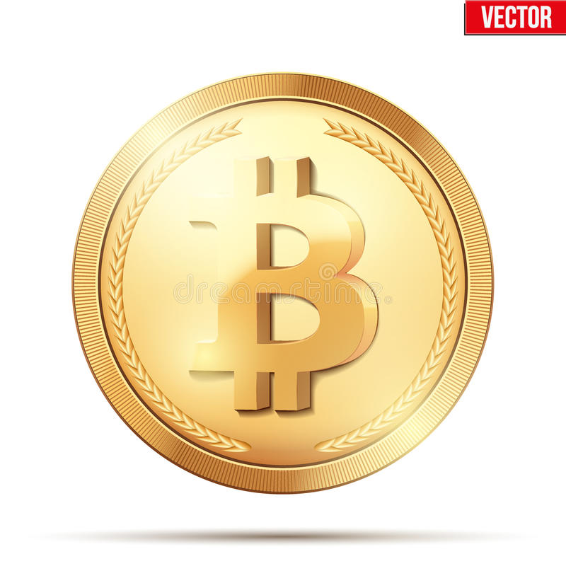 Χρυσό νόμισμα με το σημάδι bitcoin διανυσματική απεικόνιση