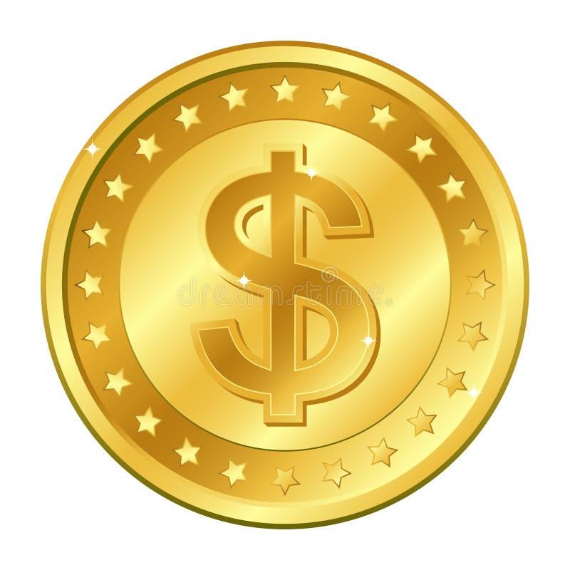 Χρυσό νόμισμα νομίσματος δολαρίων με τα αστέρια Διανυσματική απεικόνιση που απομονώνεται στην άσπρη ανασκόπηση Στοιχεία και έντον απεικόνιση αποθεμάτων