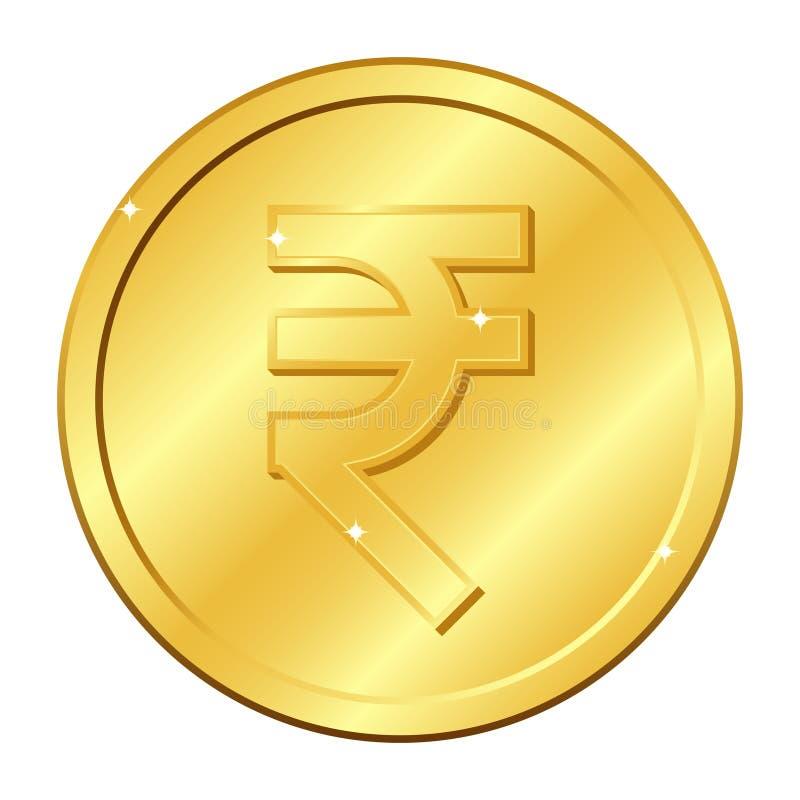 Χρυσό νόμισμα νομίσματος ρουπίων Ινδικό νόμισμα Διανυσματική απεικόνιση που απομονώνεται στην άσπρη ανασκόπηση Στοιχεία και έντον διανυσματική απεικόνιση