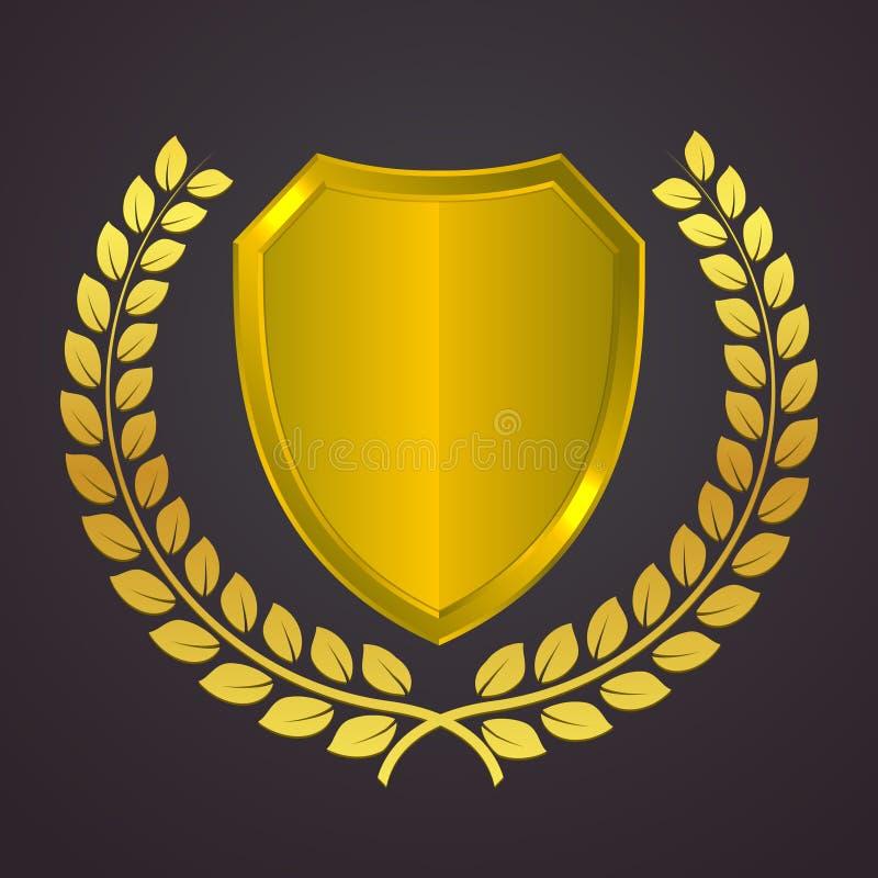 Χρυσό λογότυπο ασπίδων με το στεφάνι δαφνών Χρυσό εραλδικό διανυσματικό εικονίδιο Έννοια φύλαξης και ασφάλειας Φωτεινό σύμβολο με διανυσματική απεικόνιση