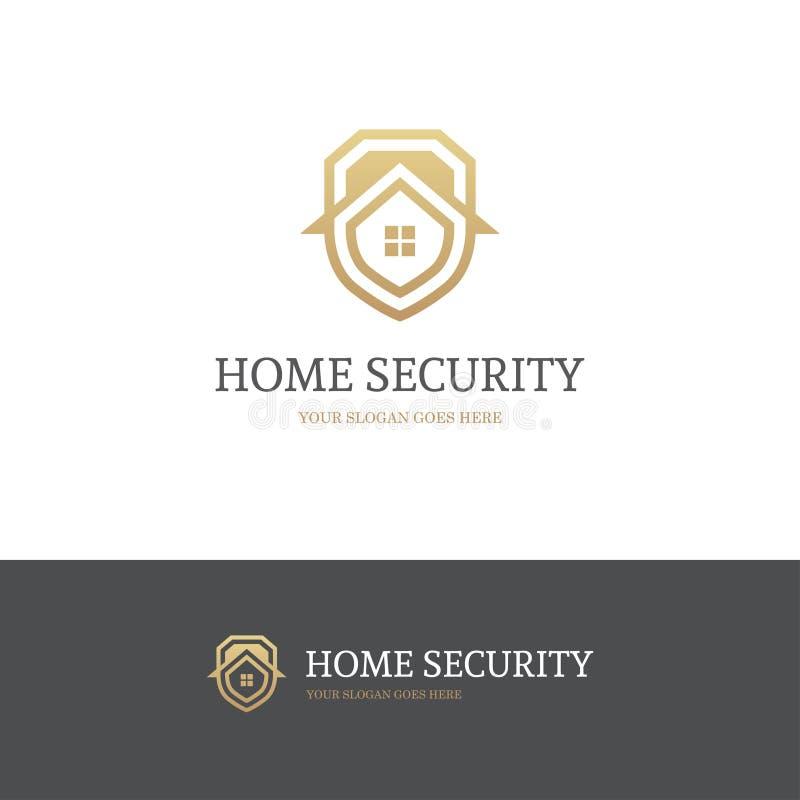 Χρυσό λογότυπο ασφάλειας σπιτιών διανυσματική απεικόνιση