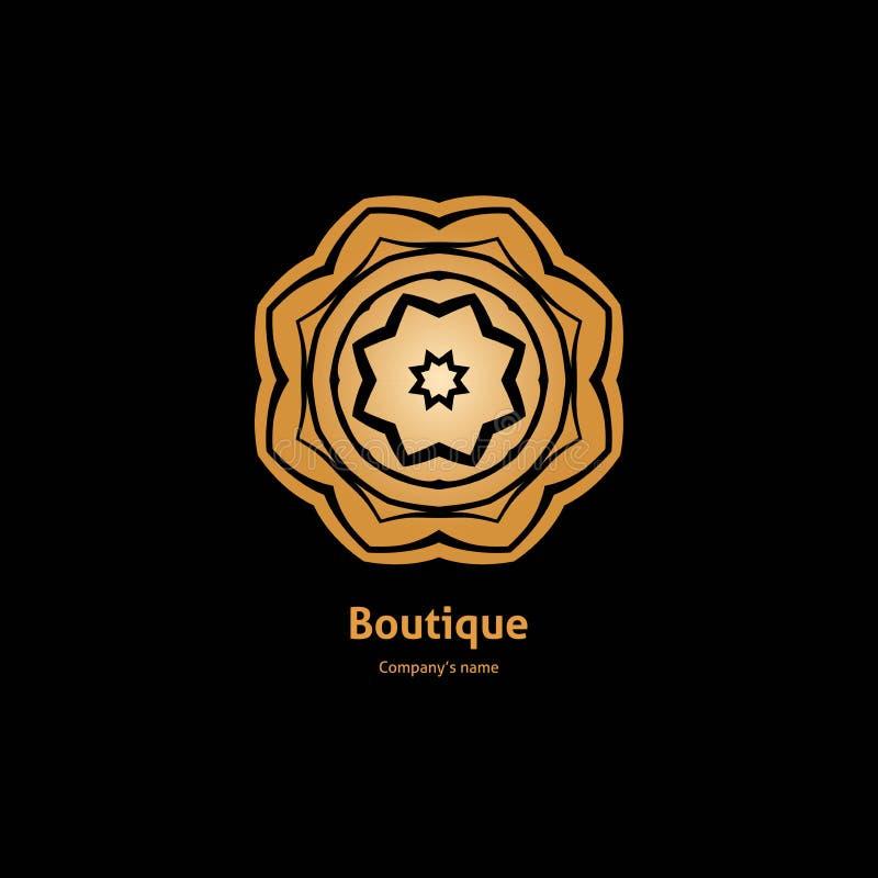 Χρυσό λογότυπο, λουλούδι Απλό γεωμετρικό σημάδι αναδρομικός Πολυτέλεια logotype, χρυσός μεγάλος οφθαλμός διανυσματική απεικόνιση