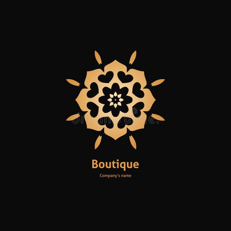 Χρυσό λογότυπο, λουλούδι Απλό γεωμετρικό σημάδι Ογκομετρικός χρυσός μεγάλος οφθαλμός Τρύγος ελεύθερη απεικόνιση δικαιώματος