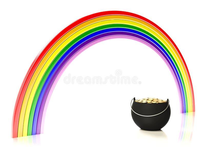 χρυσό ουράνιο τόξο δοχείω διανυσματική απεικόνιση