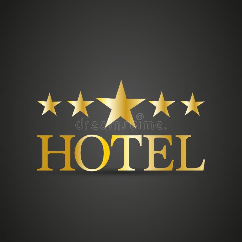 Χρυσό πέντε αστέρων σημάδι ξενοδοχείων απεικόνιση αποθεμάτων