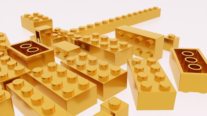 Χρυσό παιχνίδι τούβλων lego πλαστικό διανυσματική απεικόνιση
