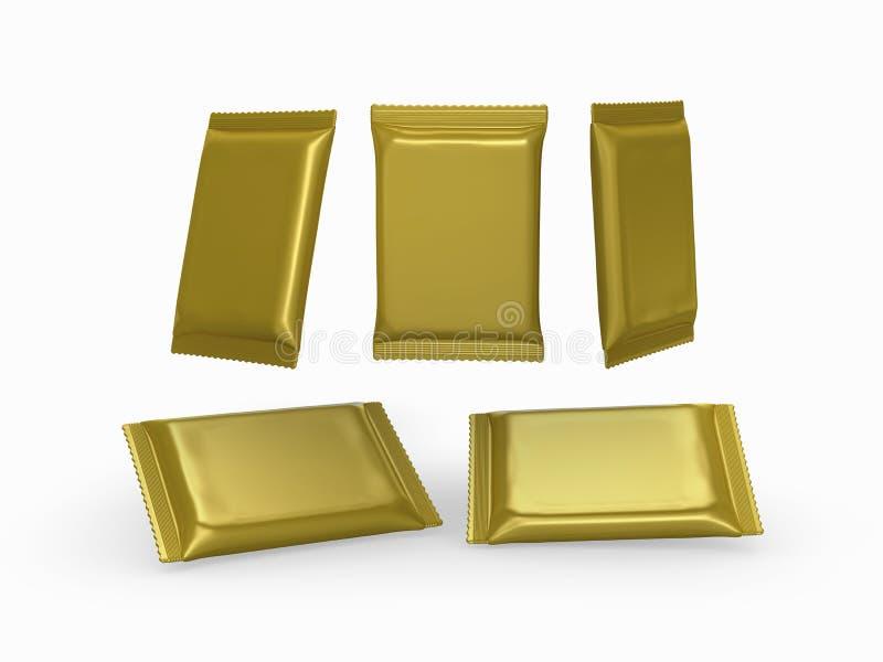 Χρυσό πακέτο περικαλυμμάτων ροής φύλλων αλουμινίου σαφές με το ψαλίδισμα της πορείας διανυσματική απεικόνιση