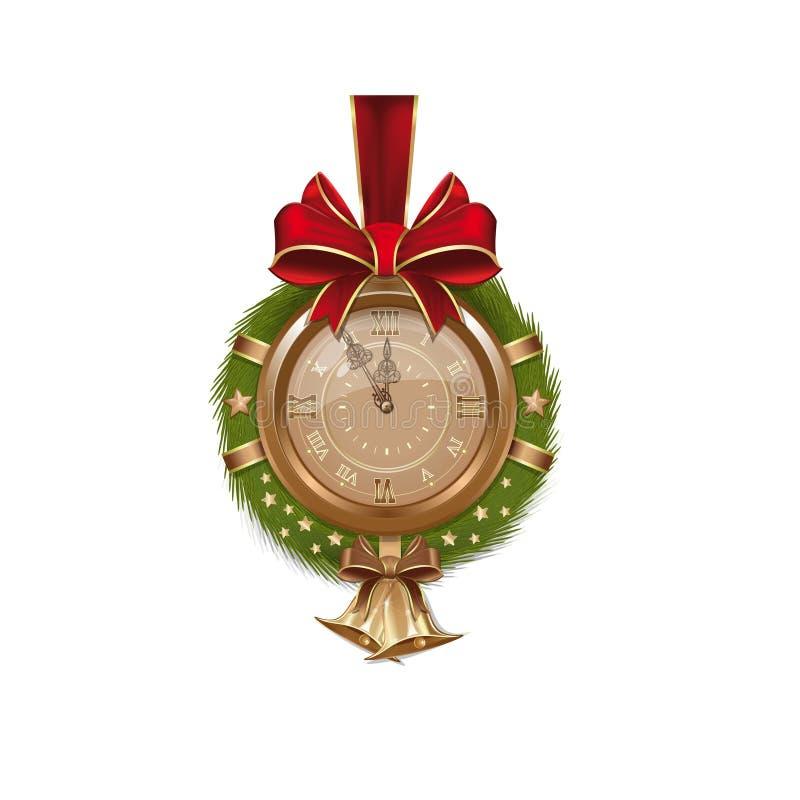 Χρυσό παλαιό ρολόι μέσα στο στεφάνι έλατου Χριστουγέννων διανυσματική απεικόνιση