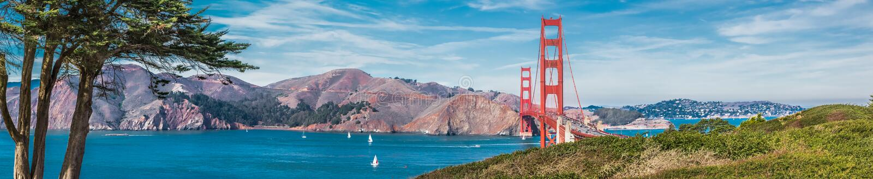 χρυσό πανόραμα πυλών γεφυρ στοκ φωτογραφία