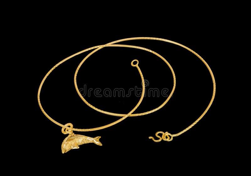 Χρυσό περιδέραιο με το χρυσό δελφίνι locket στοκ εικόνες