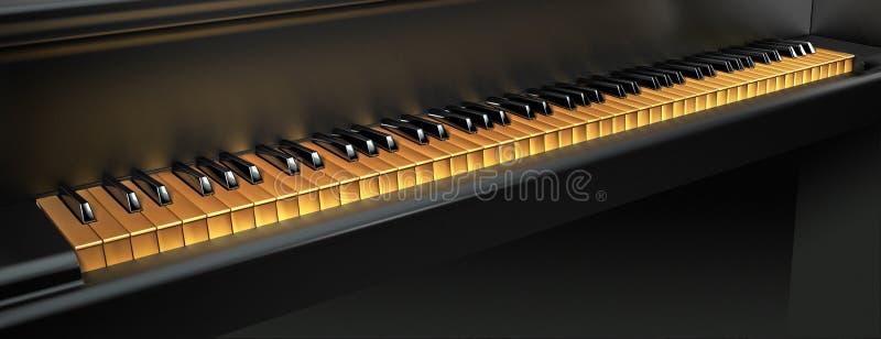 χρυσό πιάνο πλήκτρων διανυσματική απεικόνιση