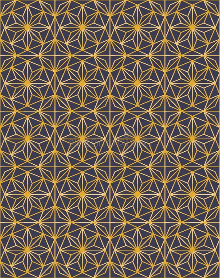 Χρυσό πλέγμα πολυτέλειας με την περίληψη αστεριών και το σκοτεινό υπόβαθρο διανυσματική απεικόνιση
