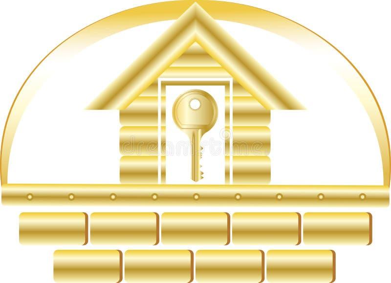 χρυσό πλήκτρο σπιτιών απεικόνιση αποθεμάτων