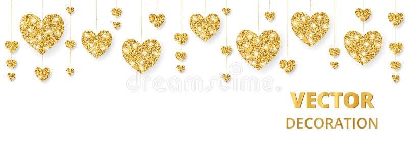 Χρυσό πλαίσιο καρδιών, σύνορα Το διάνυσμα ακτινοβολεί απομονωμένος στο λευκό Για τη διακόσμηση των καρτών βαλεντίνων και ημέρας μ ελεύθερη απεικόνιση δικαιώματος