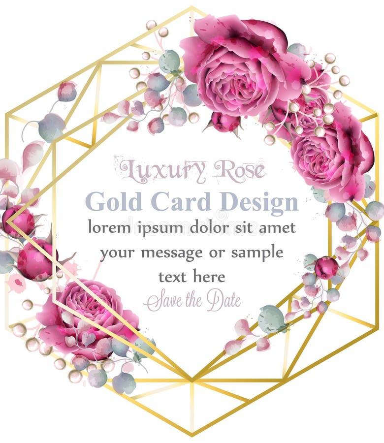 Χρυσό πλαίσιο καρτών με το ροδαλό διάνυσμα watercolor λουλουδιών Χρυσό αφηρημένο έμβλημα ντεκόρ σχεδίου Βασιλικές γαμήλιες ανθοδέ διανυσματική απεικόνιση