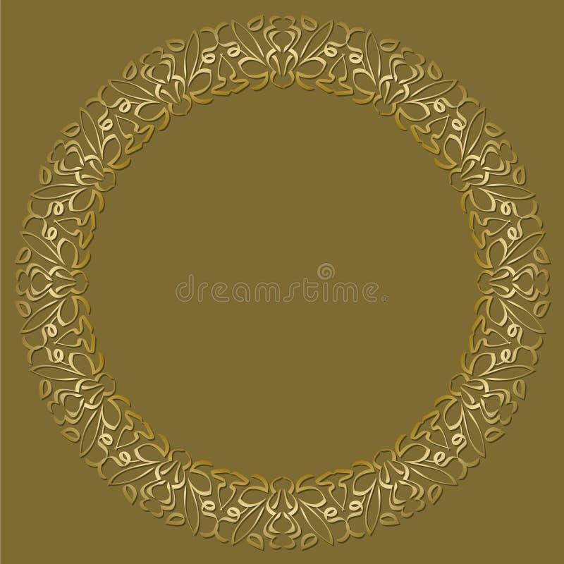Χρυσό πλαίσιο κύκλων στο σκοτεινό χρυσό υπόβαθρο Filigree σχέδια δαντελλών, πολυτελής πρόσκληση σχεδίου deco τέχνης embossed απεικόνιση αποθεμάτων