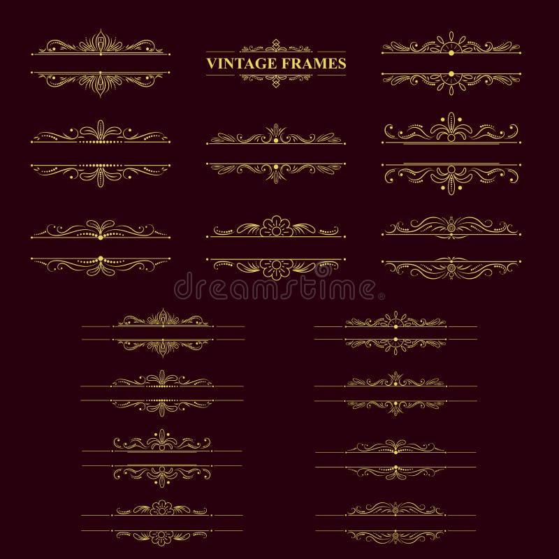 Χρυσό πλαίσιο λωρίδων με τα εκλεκτής ποιότητας στοιχεία απεικόνιση αποθεμάτων