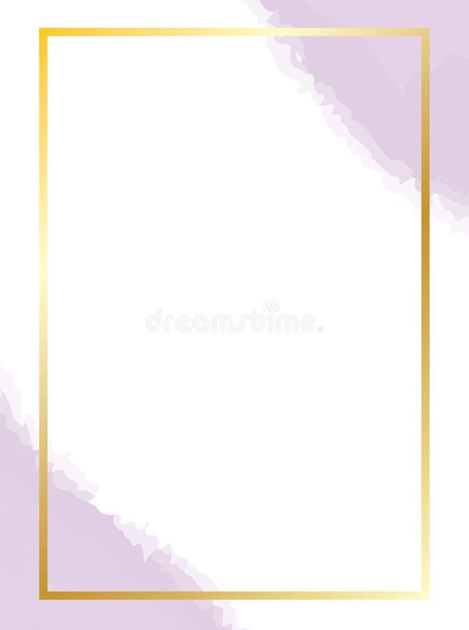 Χρυσό πλαίσιο με τους πορφυρούς λεκέδες watercolor ελεύθερη απεικόνιση δικαιώματος