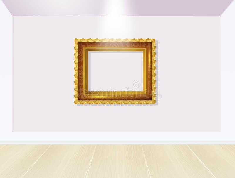 Χρυσό πλαίσιο στο μουσείο ελεύθερη απεικόνιση δικαιώματος
