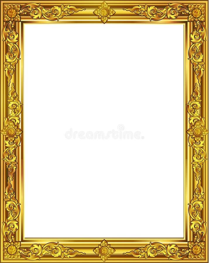 Χρυσό πλαίσιο φωτογραφιών με τη γραμμή της Ταϊλάνδης γωνιών floral για την εικόνα, διανυσματικό ύφος σχεδίων διακοσμήσεων σχεδίου ελεύθερη απεικόνιση δικαιώματος