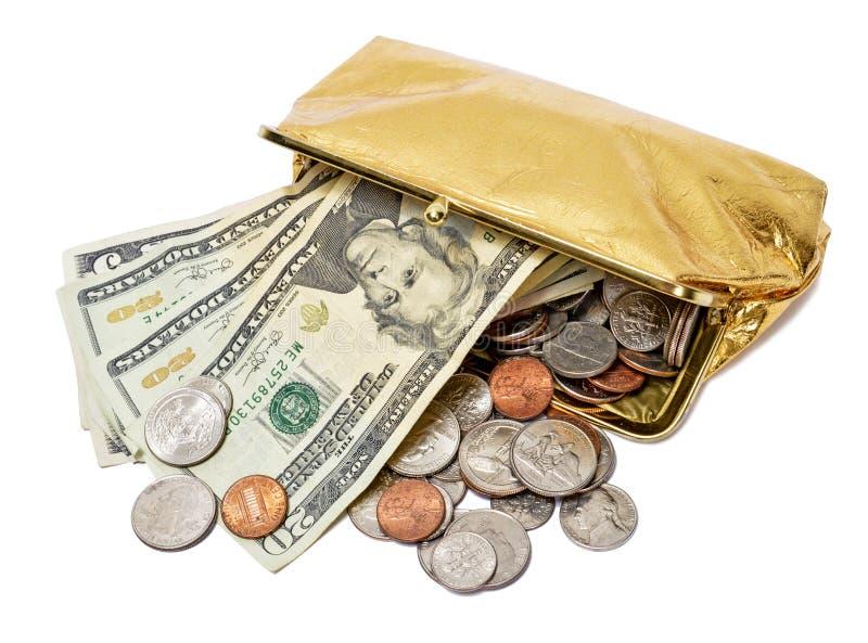 Χρυσό πορτοφόλι νομισμάτων με τα μετρητά και τα νομίσματα στοκ εικόνες