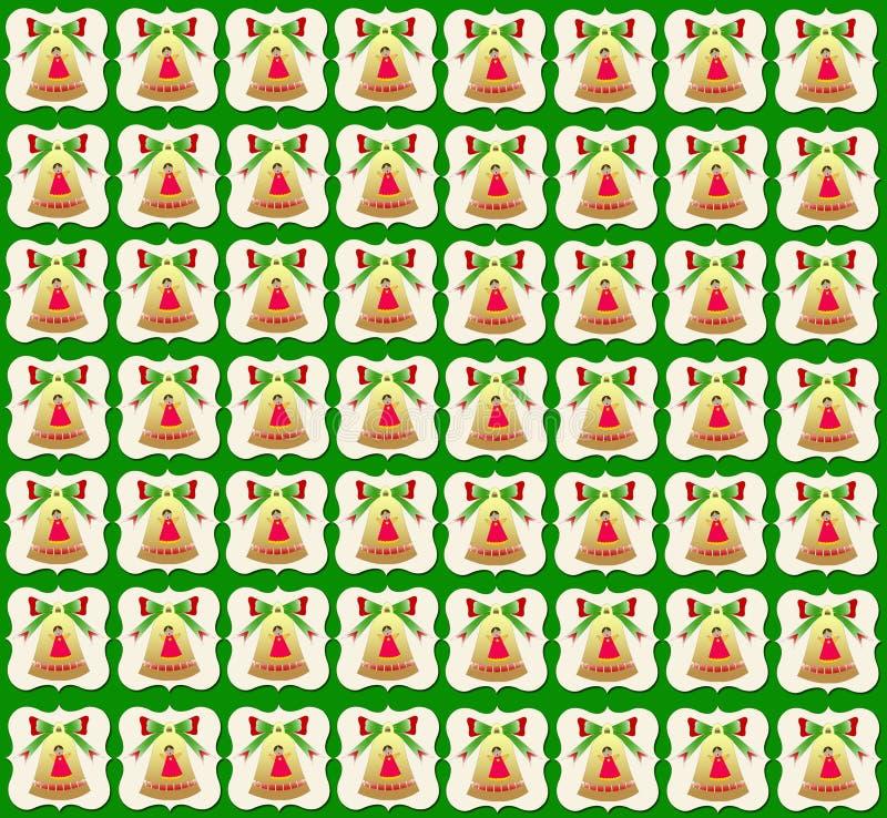 Χρυσό πράσινο υπόβαθρο ταπετσαριών κουδουνιών Χριστουγέννων απεικόνιση αποθεμάτων
