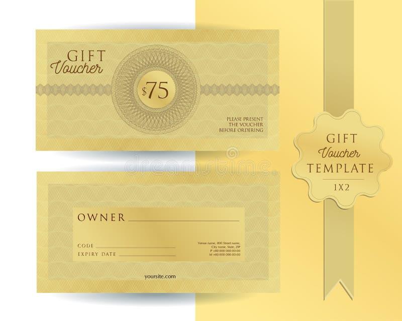 Χρυσό πρότυπο για την απόδειξη δώρων 75 δολαρίων με τα υδατόσημα αραβουργήματος Double-sided δελτίο με τους τομείς που γεμίζουν Ο στοκ εικόνα με δικαίωμα ελεύθερης χρήσης