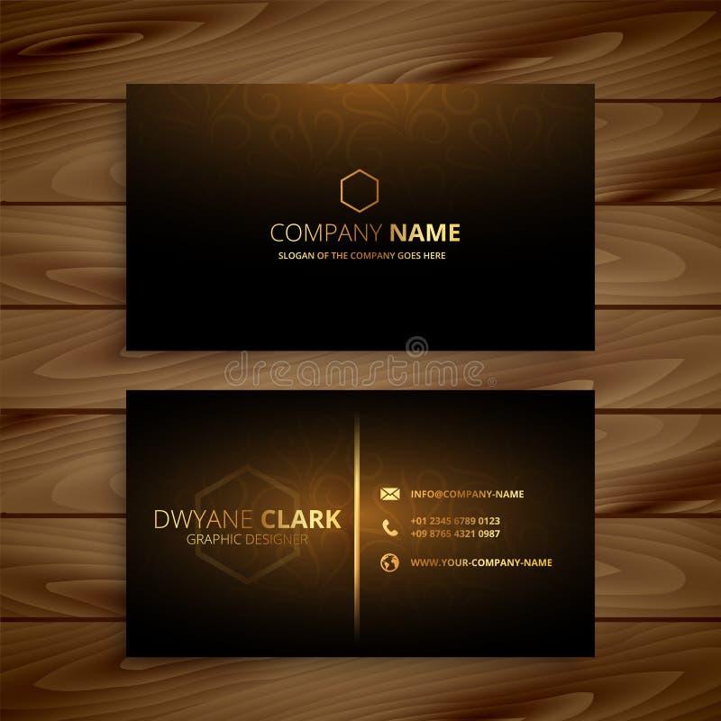 Χρυσό πρότυπο επαγγελματικών καρτών ασφαλίστρου πολυτέλειας διανυσματική απεικόνιση