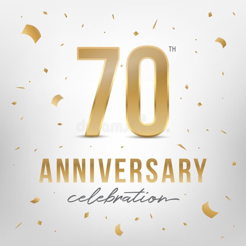 χρυσό πρότυπο 70ου εορτασμού επετείου επίσης corel σύρετε το διάνυσμα απεικόνισης ελεύθερη απεικόνιση δικαιώματος