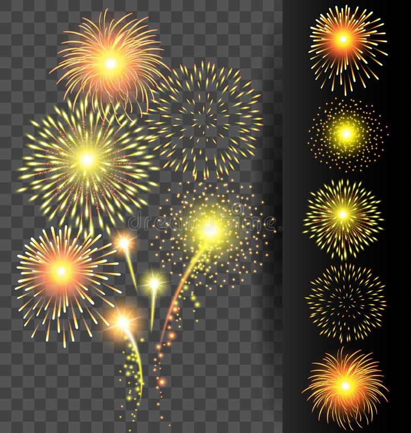 Download Χρυσό πυροτέχνημα που τίθεται στο διαφανές υπόβαθρο για τα Χριστούγεννα και Διανυσματική απεικόνιση - εικονογραφία από έξυπνο, γεγονός: 62711579