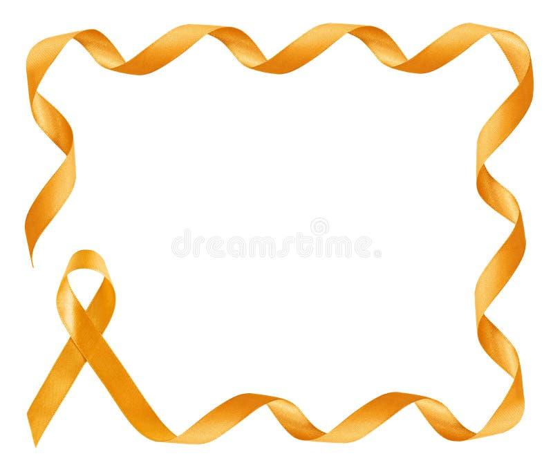 Χρυσό πλαίσιο κορδελλών συνειδητοποίησης καρκίνου παιδικής ηλικίας στοκ φωτογραφία με δικαίωμα ελεύθερης χρήσης