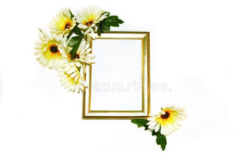 Χρυσό πλαίσιο με τις άσπρες και κίτρινες μαργαρίτες στοκ φωτογραφία