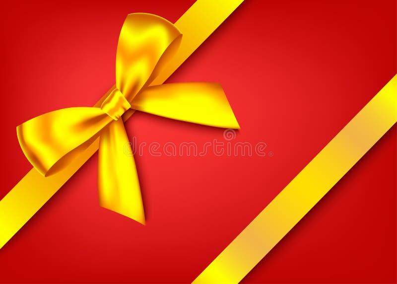Χρυσό ρεαλιστικό τόξο δώρων με την οριζόντια κορδέλλα απεικόνιση αποθεμάτων