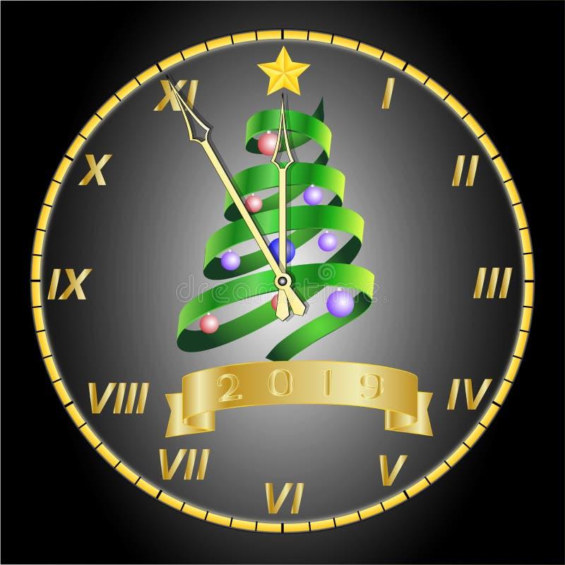 Χρυσό ρολόι με το χριστουγεννιάτικο δέντρο και διακοσμήσεις στον πίνακα ελεύθερη απεικόνιση δικαιώματος