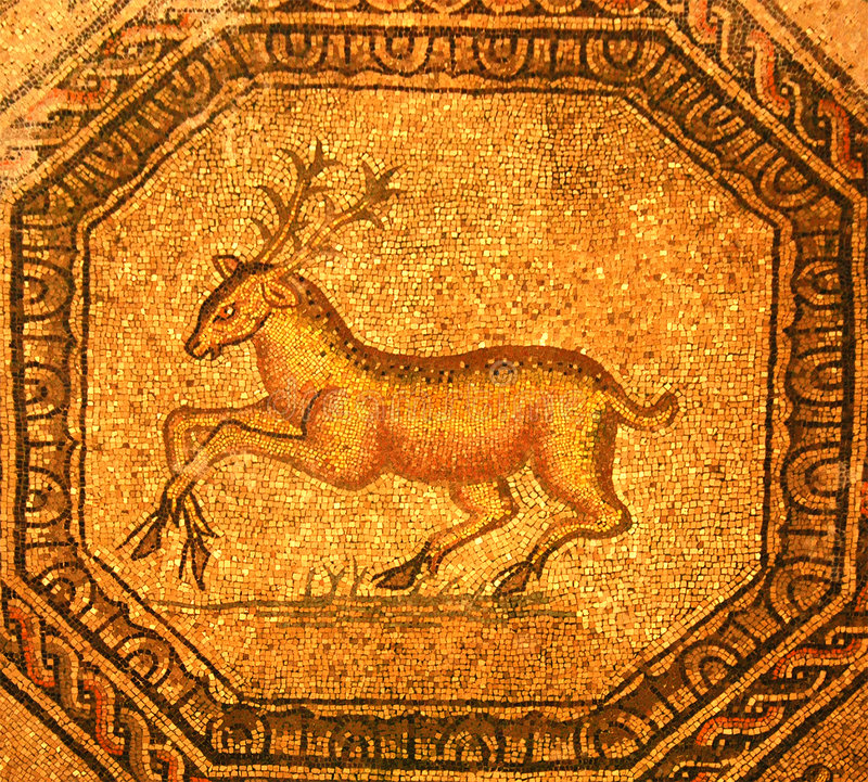 χρυσό ρωμαϊκό αρσενικό ελάφι μωσαϊκών στοκ εικόνα με δικαίωμα ελεύθερης χρήσης