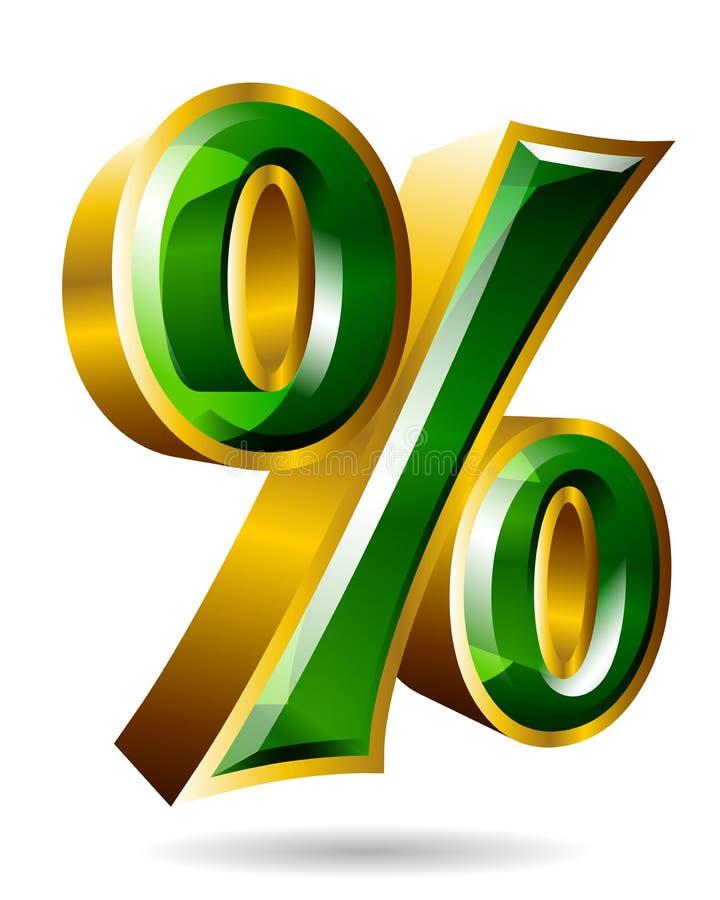 Χρυσό σημάδι τοις εκατό στο τρισδιάστατο ύφος που απομονώνεται στο άσπρο υπόβαθρο VE απεικόνιση αποθεμάτων