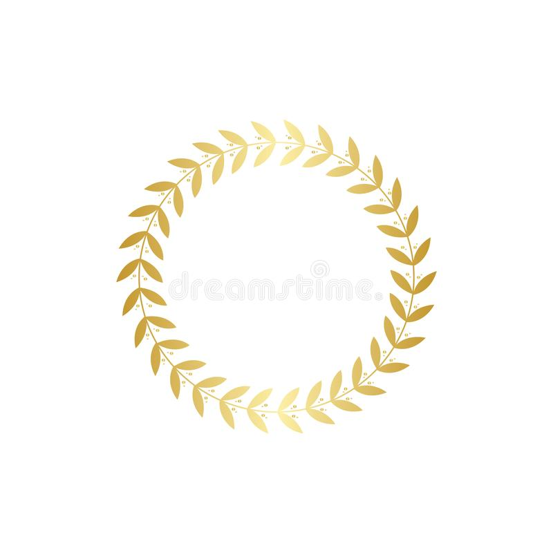 Χρυσό στεφάνι με τα φύλλα, χρυσή διακόσμηση κλάδων φύλλων για τη δάφνη βραβείων ή πλαίσιο τροπαίων διανυσματική απεικόνιση