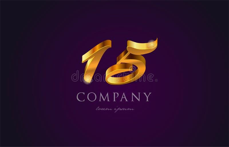χρυσό χρυσό σχέδιο εικονιδίων λογότυπων ψηφίων αριθμού αριθμού 15 δεκαπέντε ελεύθερη απεικόνιση δικαιώματος