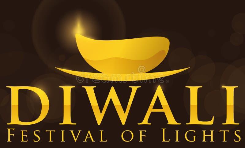 Χρυσό σχέδιο με αναμμένο Diya και μήνυμα χαιρετισμού για Diwali, διανυσματική απεικόνιση απεικόνιση αποθεμάτων