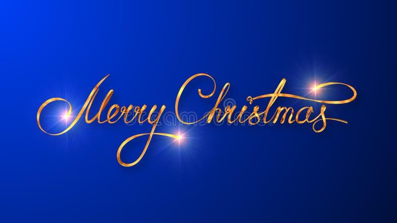 Χρυσό σχέδιο κειμένων της Χαρούμενα Χριστούγεννας στο μπλε υπόβαθρο χρώματος διανυσματική απεικόνιση