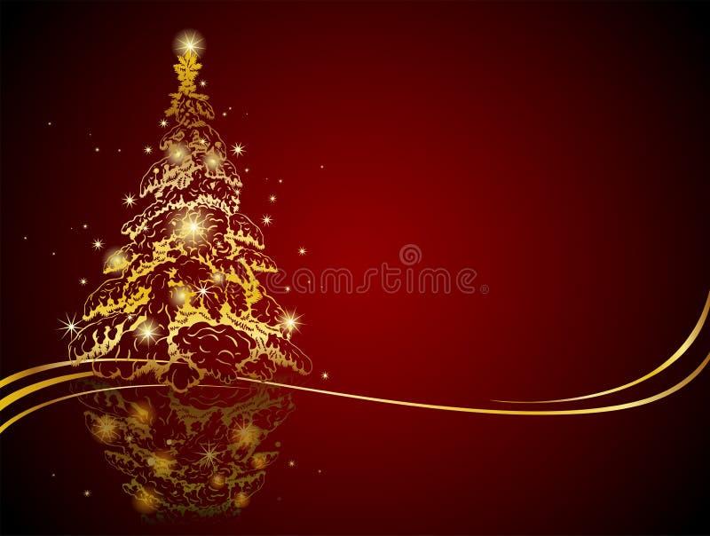 χρυσό σύγχρονο δέντρο Χρι&sigma απεικόνιση αποθεμάτων