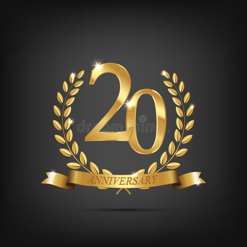 χρυσό σύμβολο 20 επετείου Χρυσά στεφάνια δαφνών με τις κορδέλλες και εικοστό σύμβολο έτους επετείου στο σκοτάδι διανυσματική απεικόνιση