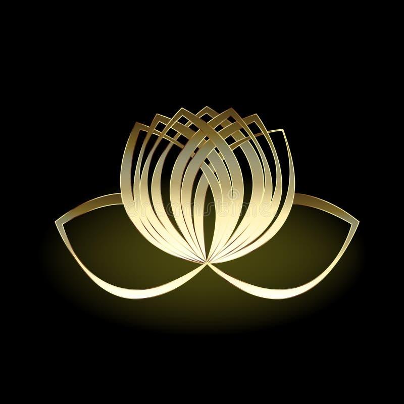Χρυσό σύμβολο λουλουδιών λωτού λογότυπων γραφικού σχεδίου απεικόνισης εικόνας γιόγκας του διανυσματικού απεικόνιση αποθεμάτων